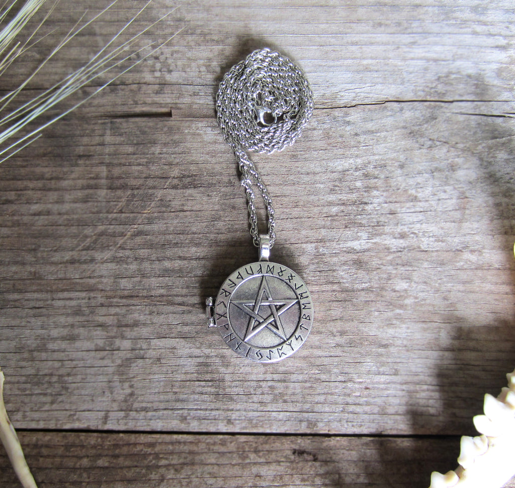 Pentacle and Rune Locket - White Moon Witchcraft