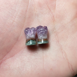 Rough Amethyst Druzy Plugs - 8mm (0ga)