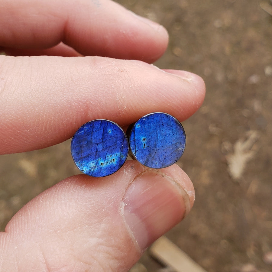 Deep Blue Labradorite Plugs - 9mm (00ga)