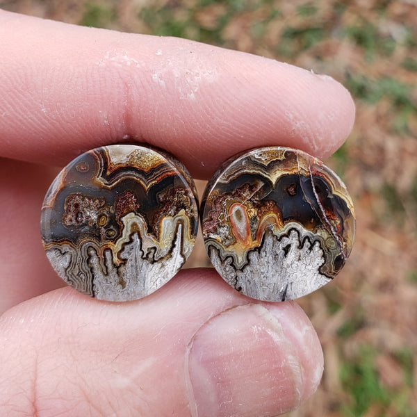 "Lace Agate Plugs - 16mm (5/8"")"