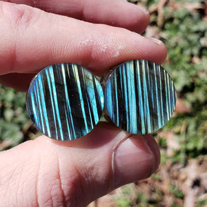 "Streaked Labradorite Plugs - 19mm (3/4"")"