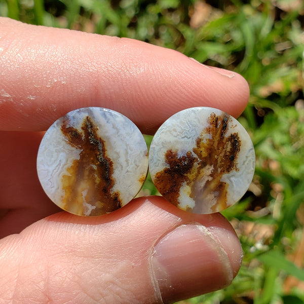 "Graveyard Point Plume Agate Plugs - 16mm (5/8"")"