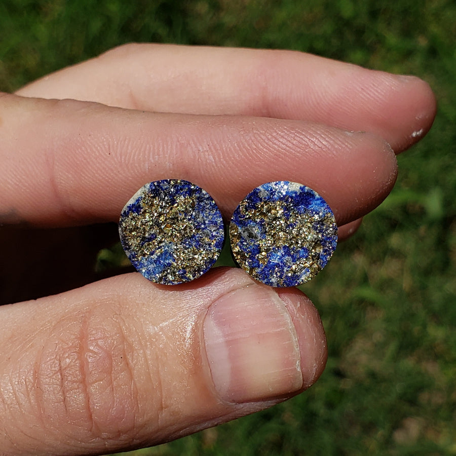 "Pyrite on Lapis Plugs - 13mm (1/2"")"