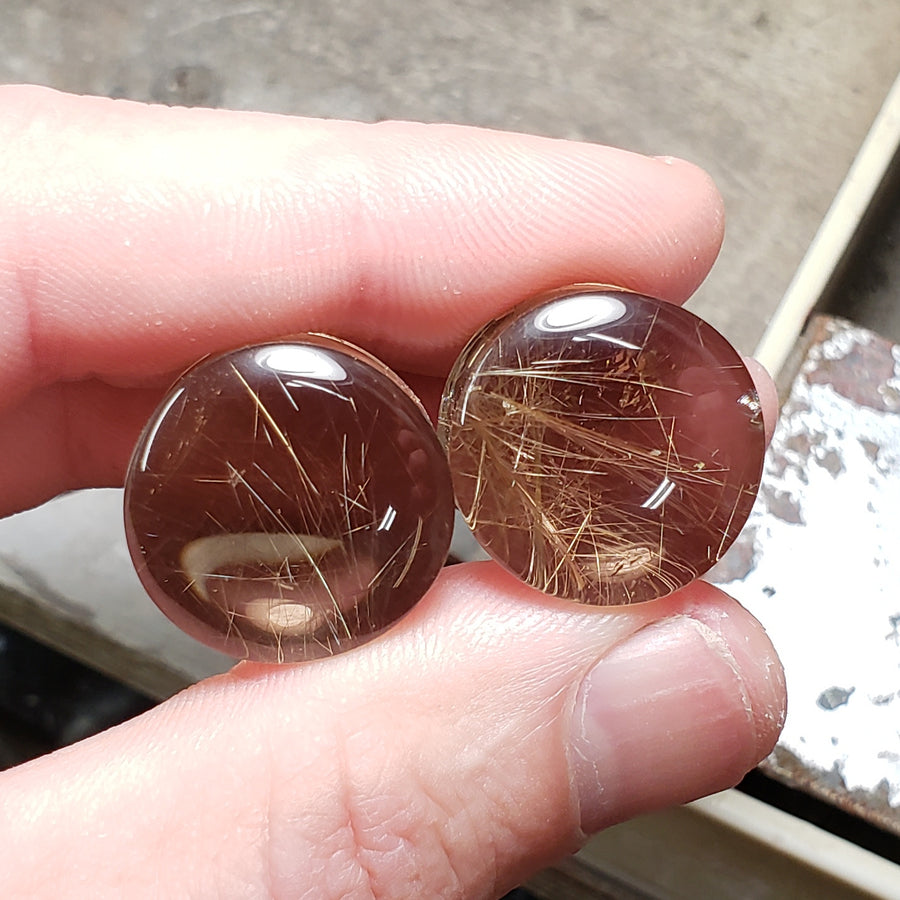 Smoky Rutilated Quartz Plugs - 19mm