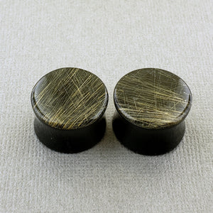 Rutile Quartz + Black Jade Doublet Plugs
