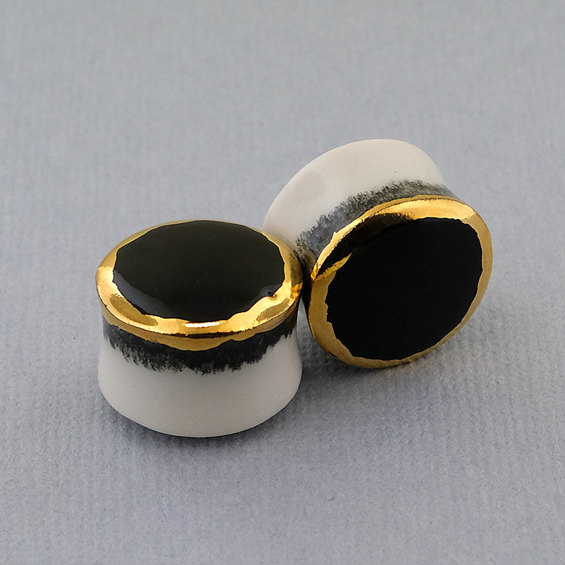 Black + Yellow Gold Rim Porcelain Plugs