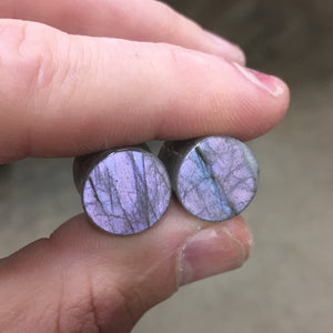 "Lilac Labradorite Plugs - 13mm (1/2"")"