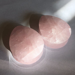 "Rose Quartz Teardrop Plugs - 38mm (1 1/2"")"