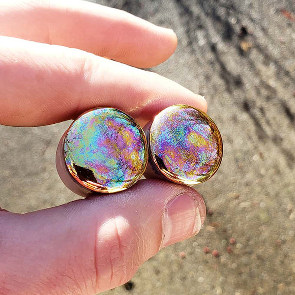Gold Iridescent Porcelain Plugs