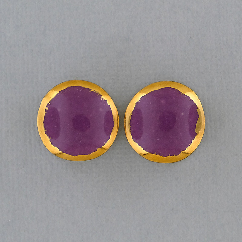 Mulberry + Yellow Gold Rim Porcelain Plugs