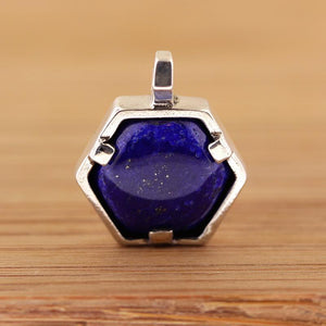 Necklace - Hexagon Pendant - Lapis Lazuli In Silver