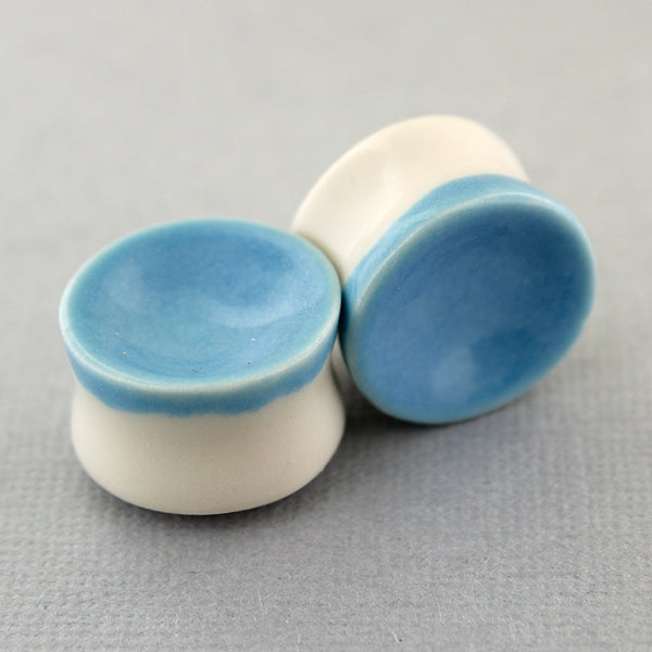 "Sky Blue Concave Porcelain Plugs - 19mm (3/4"")"