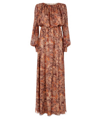 Chiffon Dress in Light Brown