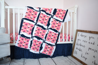 Coral Pink and Navy Blue Tulip Baby Girl Nursery Crib Bedding and Rag Quilt