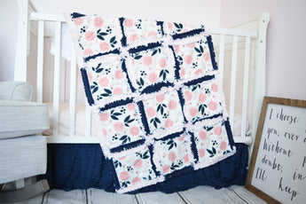 Vintage Floral Baby Girl Nursery Crib Bedding - Blush Pink / Navy Blue