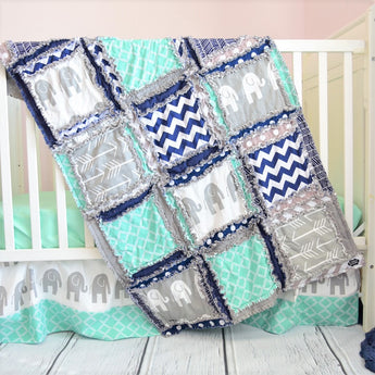 Safari Crib Bedding - Mint, Navy, Gray