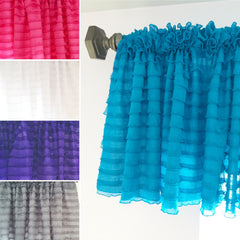 Ruffle Valances in Hot Pink, White, Grape, Gray, and Turquoise