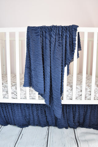 Navy Blue Ruffle Nursery Bedding
