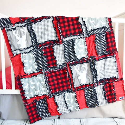 Red / Black / Gray Woodland Crib Quilt