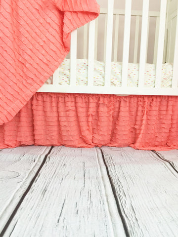 Light Coral Ruffle Nursery Baby Bedding