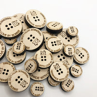 Personalized Wooden Buttons Large, Handmade with Love