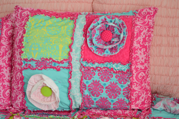 Rag Quilt Pillow Sham - Pick Your Own Colors / Fabrics - A Vision to Remember