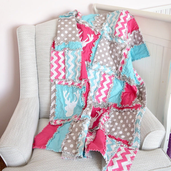 Woodland Crib Bedding Girl | Hot Pink, Turquoise, Gray