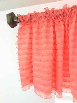 Light Coral Ruffle Valance - Extra Wide Sheer Window Curtain - cu - A Vision to Remember