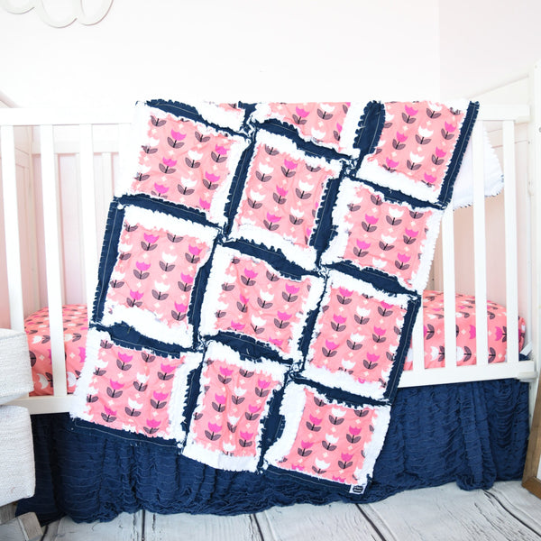 Tulip Baby Girl Nursery Crib Bedding & Rag Quilt - Coral Pink / Navy Blue / White - A Vision to Remember