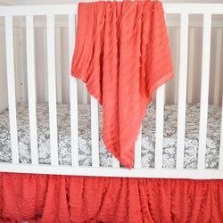 Ruffle Baby Bedding - Coral