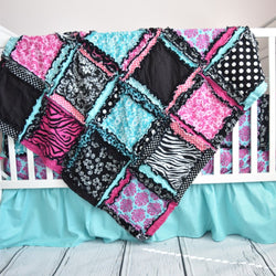 Zebra Crib Bedding Baby Girl Nursery - Hot Pink, Black, Aqua - Crib Bedding - A Vision to Remember