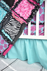Zebra Crib Bedding Baby Girl Nursery - Hot Pink, Black, Aqua