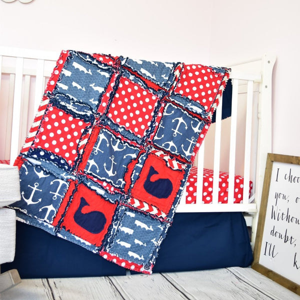 Nautical Baby Nursery for Boys Crib Bedding - Red / Navy Blue - A Vision to Remember