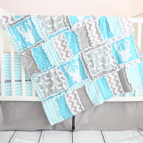 Woodland Crib Set - Turquoise / Gray - Includes Crib Quilt, Crib Sheet, and Crib Skirt - A Vision to Remember