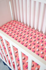 Tulip Baby Girl Nursery Crib Bedding & Rag Quilt - Coral Pink / Navy Blue / White - Crib Bedding - A Vision to Remember