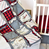 Vintage Airplane Crib Bedding for Baby Boy Nursery - Red / Gray - Crib Bedding - A Vision to Remember