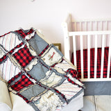 Vintage Airplane Crib Bedding for Baby Boy Nursery - Red / Gray - A Vision to Remember
