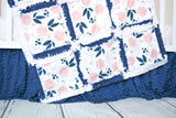 Vintage Floral Baby Girl Nursery Crib Bedding & Rag Quilt - Blush Pink / Navy Blue - Crib Bedding - A Vision to Remember