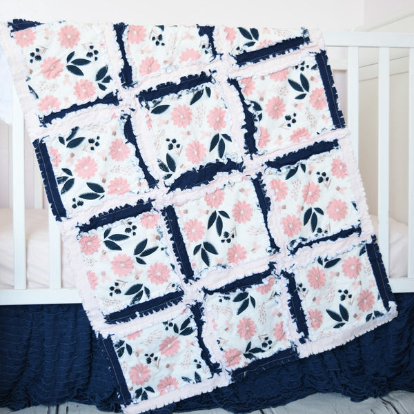 Vintage Floral Baby Girl Nursery Crib Bedding & Rag Quilt - Blush Pink / Navy Blue - A Vision to Remember