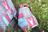 CAR SEAT Canopy With Deer Silhouette in Grey, Hot Pink, and Aqua - Car Seat Canopy - A Vision to Remember