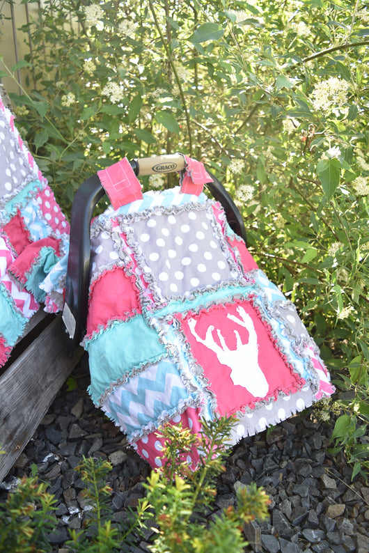 Woodland Car Seat Canopy for Baby Girl - Grey / Hot Pink / Aqua - Car Seat Canopy - A Vision to Remember