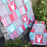 Deer Crib Bedding for Baby Girl Nursery Decor - Hot Pink / Turquoise / Gray - Crib Bedding - A Vision to Remember