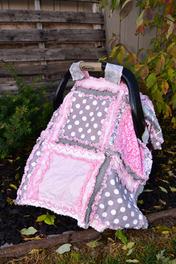 Baby Girl Car Seat Canopy - Pink / Gray