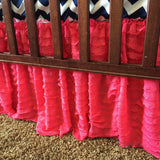 Hot Pink Ruffle Crib Skirt for Baby Girl Nursery Bedding - Crib Bedding - A Vision to Remember