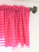 Hot Pink Ruffle Valance - Extra Wide Sheer Window Curtain - Ruffle Curtain - A Vision to Remember