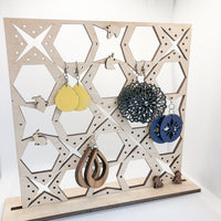 Wooden Earring Organizer Stand