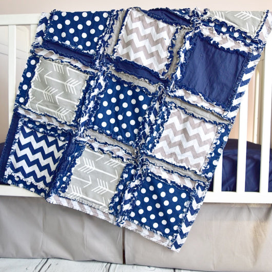 Tribal Baby Boy Crib Bedding - Navy / Gray - Crib Bedding - A Vision to Remember