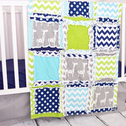 Giraffe Crib Bedding - Lime / Turquoise / Navy / Gray - Crib Bedding - A Vision to Remember