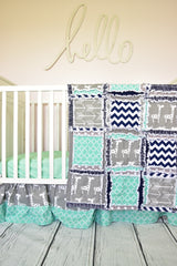 Giraffe Crib Set - Mint, Navy Blue, Gray Safari Nursery Bedding