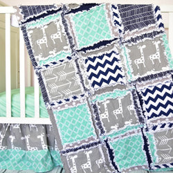 Giraffe Crib Bedding - Mint / Navy Blue / Gray - Crib Bedding - A Vision to Remember